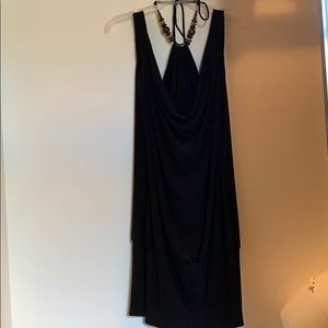 Black dress with beaded neck tie detail